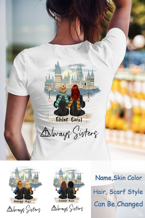 Personalized Wizard HP Shirt, Besties and Sisters Happy Birthday Gift