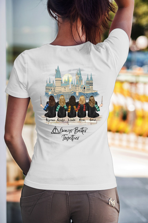 5 Sisters/Friends T shirt- HP - Customized Girls from Left To Right Order
