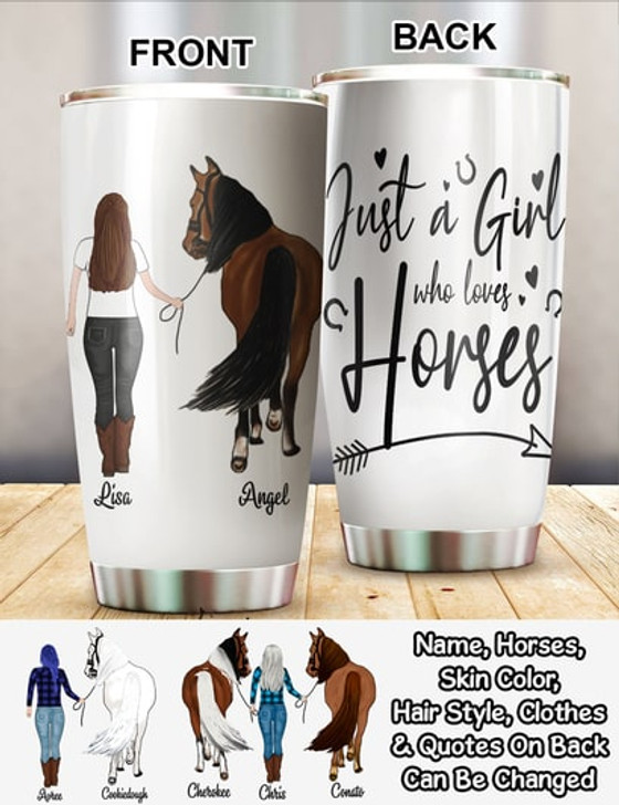 Personalized Horse Gift For Horse Lover Girl With Horse 20oz Tumbler Horse Gifts For Women