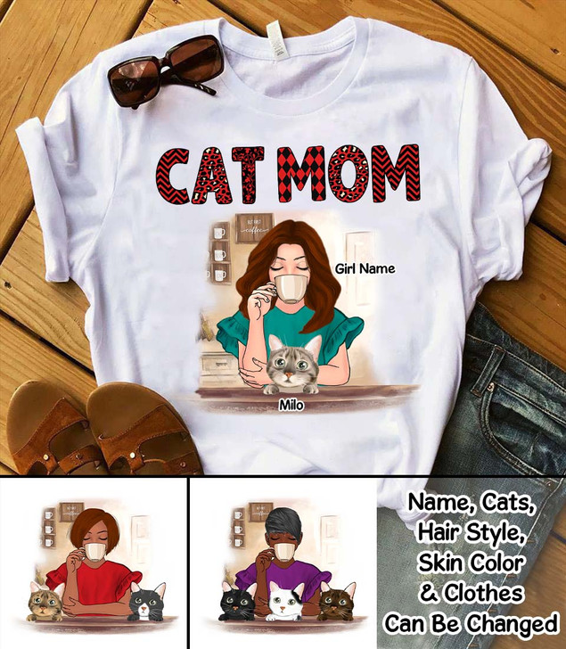 Moosfy Personalised Girl And Cat Shirt - Life Is Better With Coffee And Cats, Gift For Cat Lover, Gift For Pet Lover, Gift For Her, Cute Cat Shirt