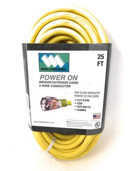 Weldmark Power Extension Cord, 15 AMPS, 25FT
