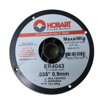 """HOBART MaxalMig ER4043 .035"""" 0.9mm 1lb Spool Welding Wire"""