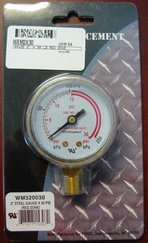 """Weldmark Replacement Pressure Gauge - 30PSI - 2.0"""""""