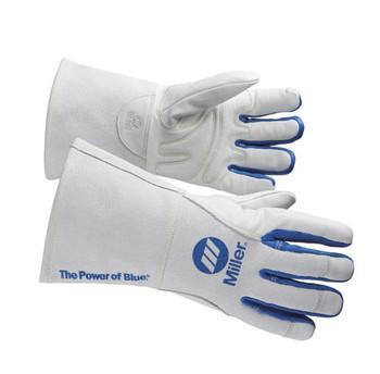 Miller  Welding Gloves, 3-D, XL, 12In, White/Blue, PR
