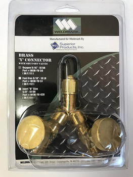 "Weldmark Valved ""Y"" Connections, 200 PSIG, Brass, RH, 9/16"" - 18, Female/male Connection, 0.5 Length, B-Size"