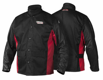 Lincoln Electric K2987-XL Shadow Grain Leather Sleeve Welding Jacket, X-Large, Black/Red …