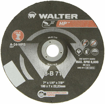 """Walter HP Grinding Wheel, Type 27, Round Hole, Aluminum Oxide, 7"""" Diameter, 1/4"""" Thick, 7/8"""" Arbor, Grit A-24-HPS (25PK) …"""