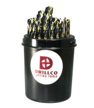"Drillco 400N Series Nitro 29 Piece High-Speed Steel Heavy-Duty Jobber Drill Bit Set, Black and Gold Oxide Finish, Round Shank, Spiral Flute, 135 Degrees Split Point, Drill Pal 1/16"" - 1/2"" in 1/64"" increments …"