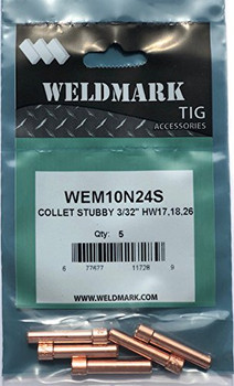 "Weldmark 10N24S Collet, Stubby, 3/32"" (2.4mm)   5PK by CKW"