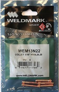 """Weldmark by CK Worldwide TIG Collet 13N22 1/16"""" (5 pack) …"""