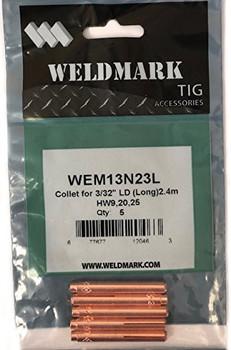 "Weldmark by CK Worldwide TIG Collet 13N24 3/32"" LD (Long) 2.4m (5PK)"