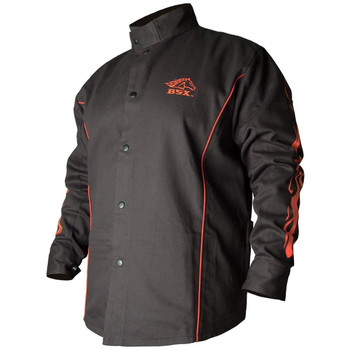 BLACK STALLION BSX® FR Welding Jacket - Black w/Red Flames - Various Sizes