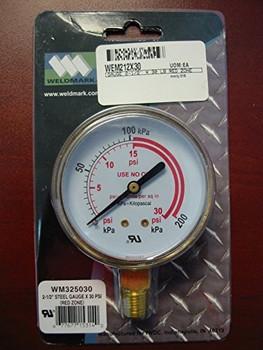 """WELDMARK REPLACEMENT PRESSURE GAUGE - 30PSI - 2.5"""""""