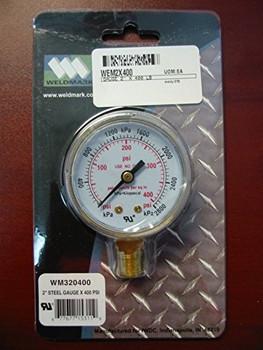 """WELDMARK REPLACEMENT PRESSURE GAUGE - 400PSI - 2.0"""""""