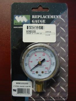 """WELDMARK REPLACEMENT PRESSURE GAUGE - 200PSI - 2.0"""" …"""