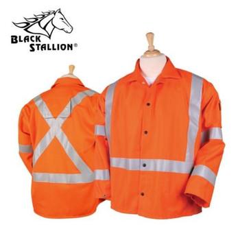 "Revco JF1012-OR 30"" Hi-Vis 9 oz. Flame Resistant Cotton Welding Jacket"