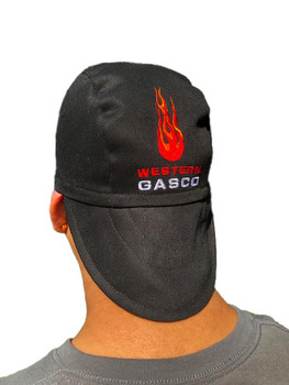 Beanie Peak Hat  - Black w/Red Flames - Various Sizes