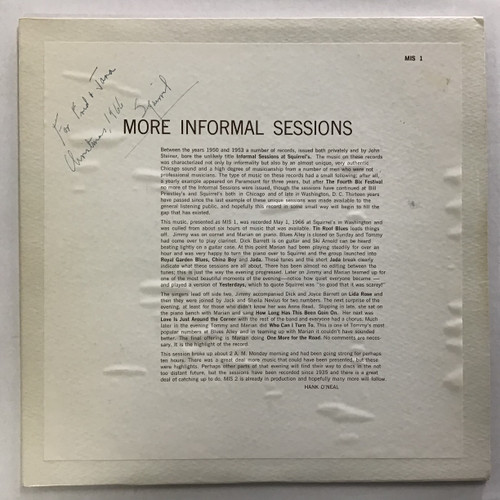 More Informal Sessions at Squirrel Ashcrofts - SIGNED - vinyl record LP