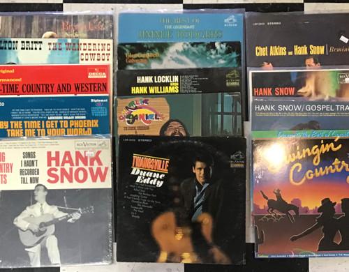 Country music Lot #1 Hank snow Locklin Glen Campbell charlie daniels elton britt Brenda Lee Jimmie Rodgers - vinyl record album LP