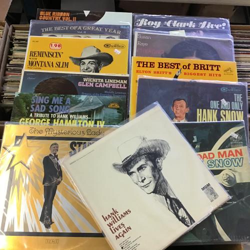 Country music Lot #2 - Roy Clark, Susan Raye, Hank Williams,  Elton Britt, Montana Slim, Glen Campbell, George Hamilton IV, Hank Snow - vinyl record album LP