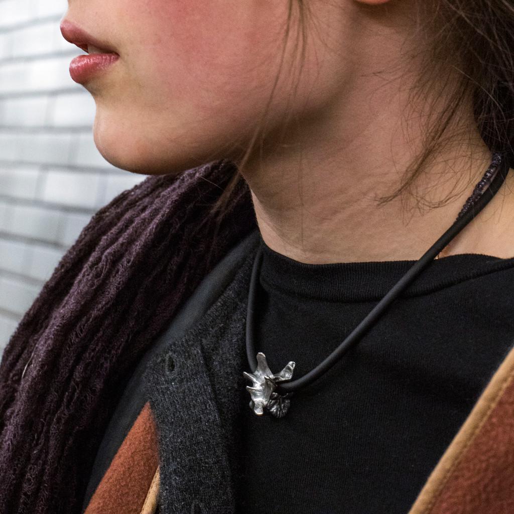 Pewter Lumbar Vertebra Necklace