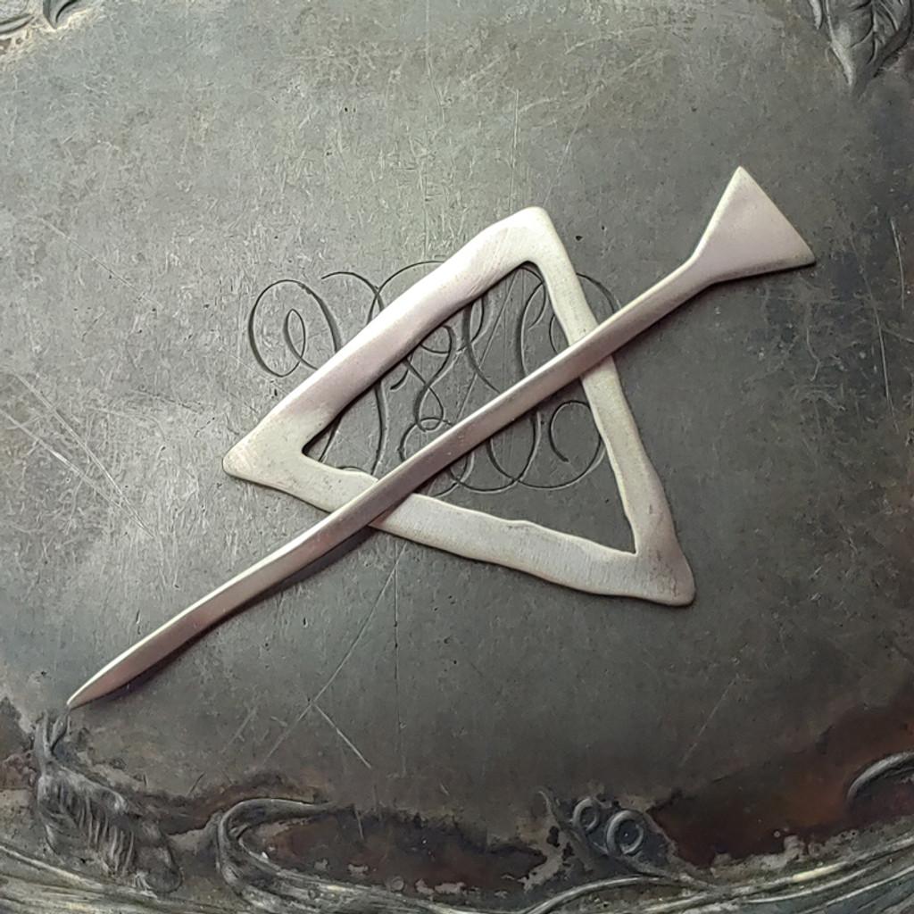 Mid-Century Modern Triangle Shawl Pin