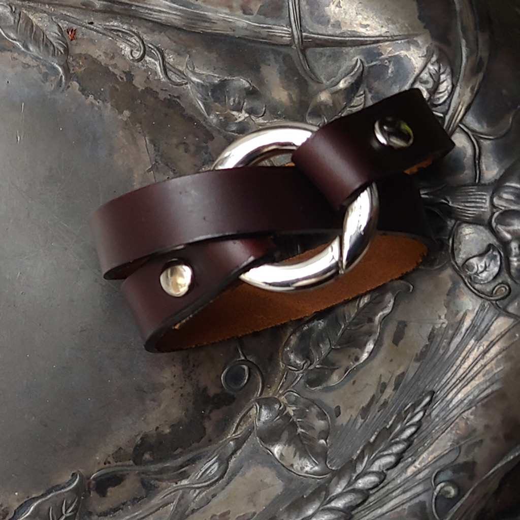 Bezel Leather Cuff