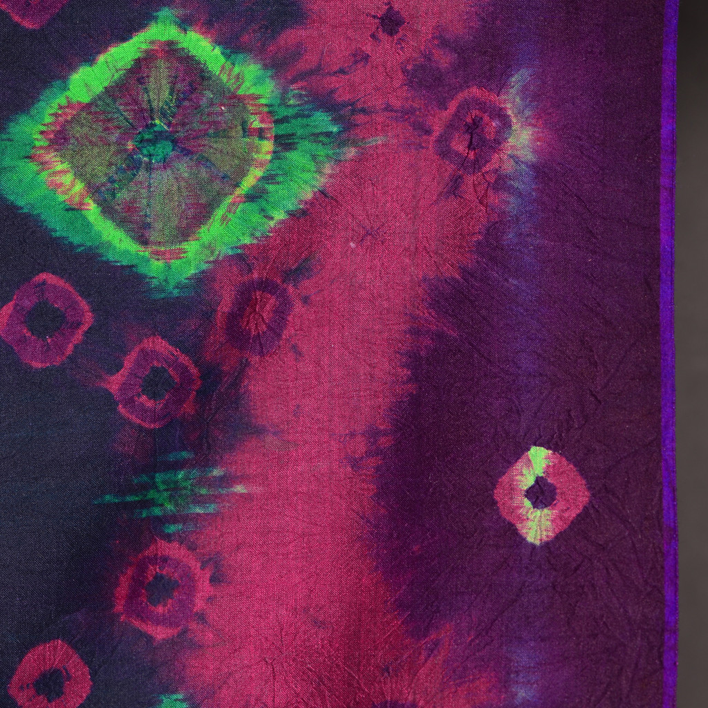 Endek Jumputan - Midnight with Pink Borders