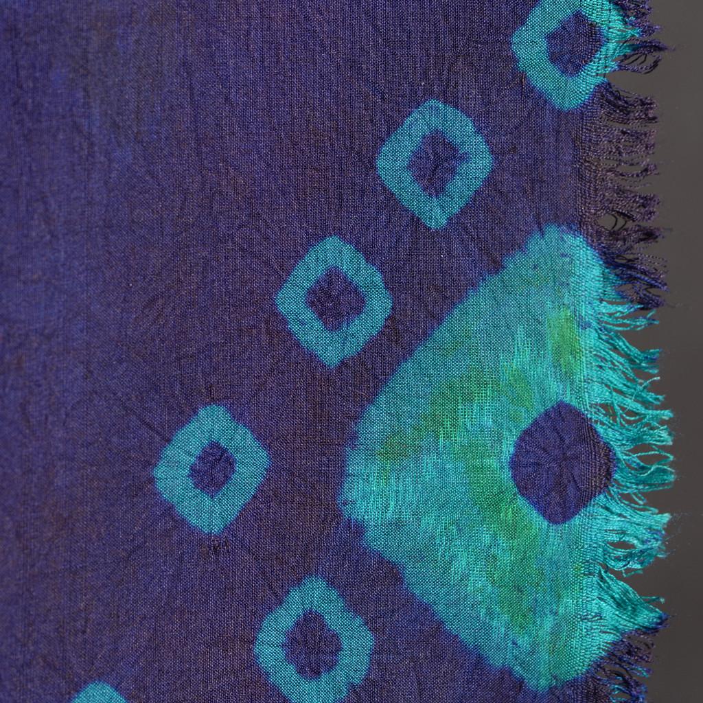 Endek Jumputan - Blue with Teal Borders