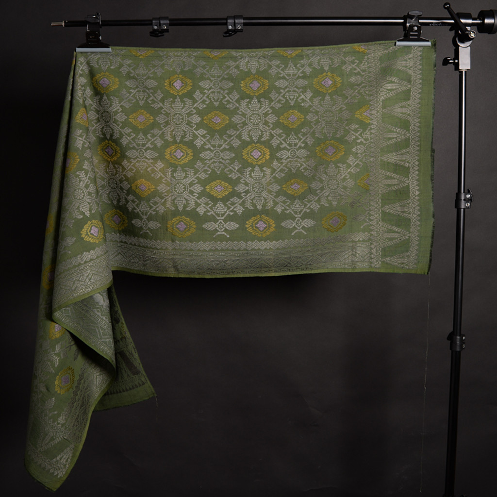 Songket Alam - Green with Gold Diamonds