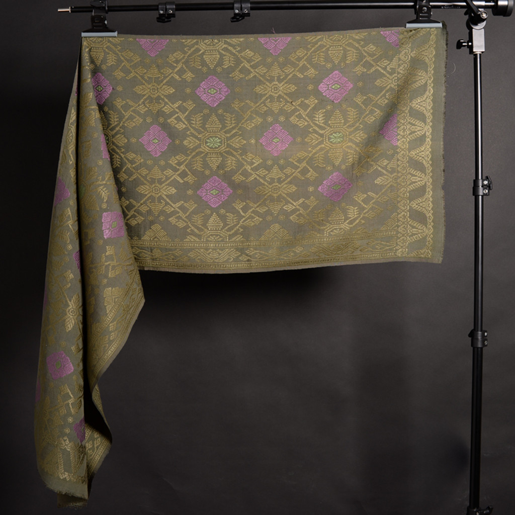 Songket Alam - Green with Lavender Diamonds