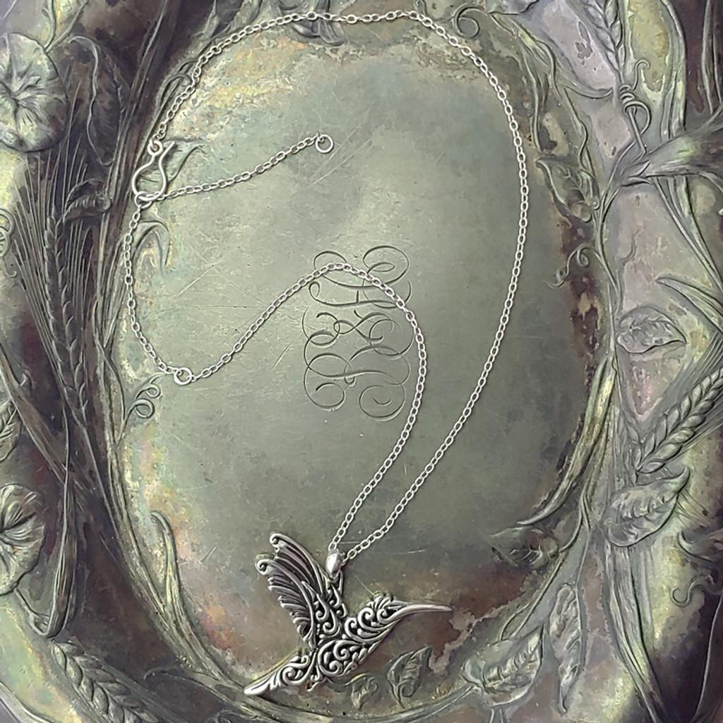 Filigree Hummingbird Sterling Silver Pendant