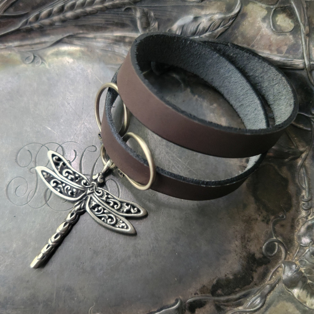 Dragonfly Oxbow Double-Wrap Charm Lock Cuff