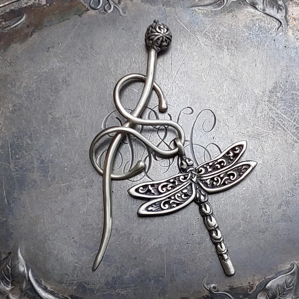 Dragonfly Filigree Charm Lock Shawl Pin