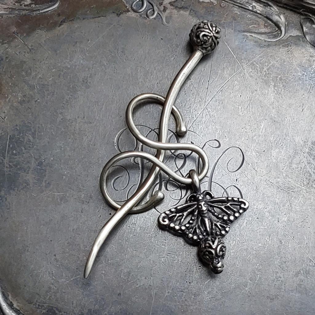 Monarch Filigree Charm Lock Shawl Pin