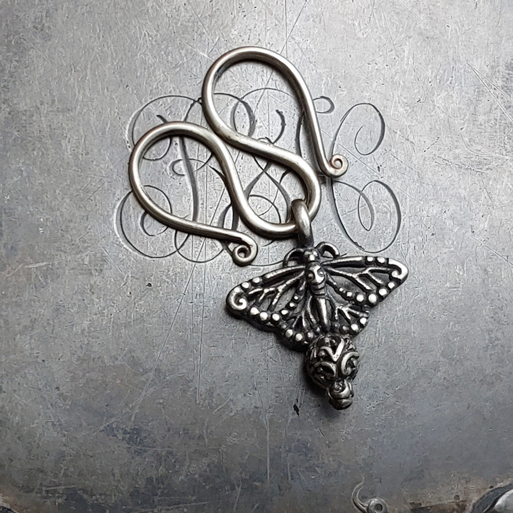 Serpentine Charm Lock with Monarch Butterfly Charm