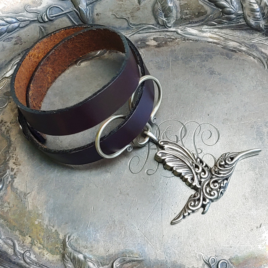 Hummingbird Oxbow Double-Wrap Charm Lock Cuff