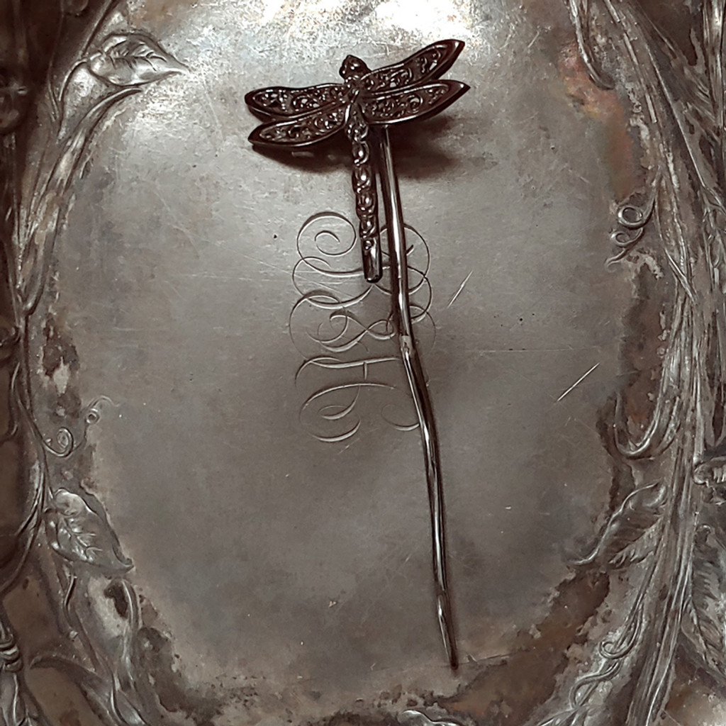 Black Filigree Dragonfly Shawl Stick
