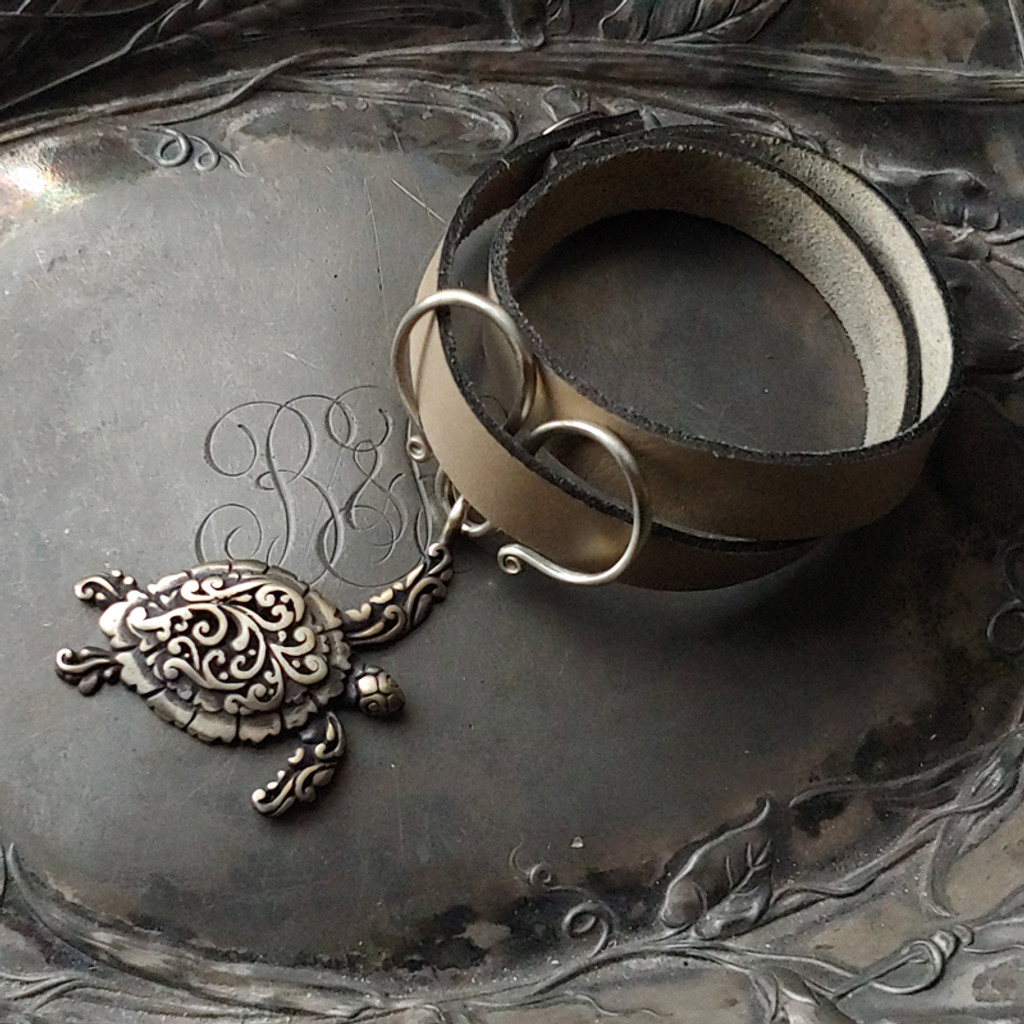 Sea Turtle Oxbow Double-Wrap Charm Lock Cuff
