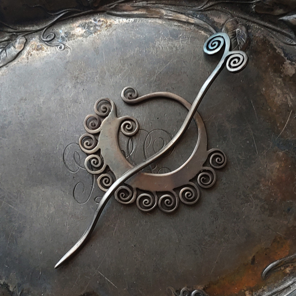 Black Coil Shawl Pin