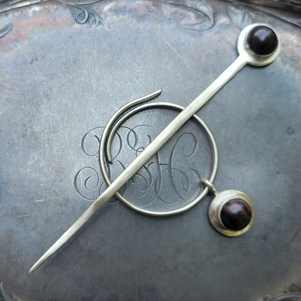 Spiral Charm Lock Shawl Pin with Rosewood Cabochon Charm