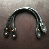 11 inch screw-in rolled leather handles - black with nickel screws