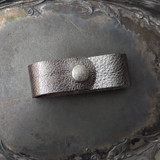 Hematite Leather Shawl Cuff