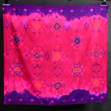 Endek Jumputan - Pink with Purple Borders