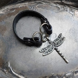 Dragonfly Serpentine Single-Wrap Charm Lock Cuff