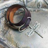 Dragonfly Oxbow Double-Wrap Charm Lock Cuff