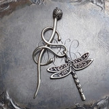 Dragonfly Filigree Charm Lock Shawl Pin