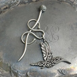 Filigree Hummingbird Charm Lock Shawl Pin