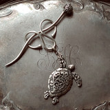 Filigree Sea Turtle Charm Lock Shawl Pin