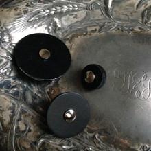 Black Leather Pedestal Buttons